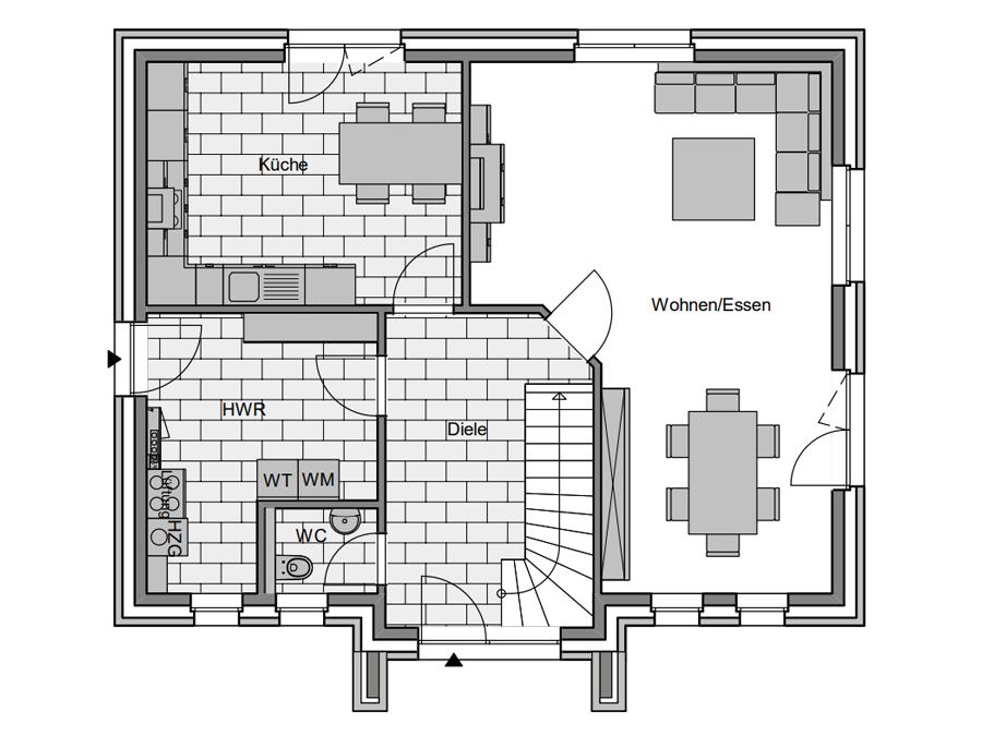 Haustyp Spezial 1 Grundriss Erdgeschoss | Lemke Bau