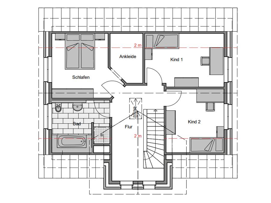 Haustyp Spezial 1 Grundriss Dachgeschoss| Lemke Bau