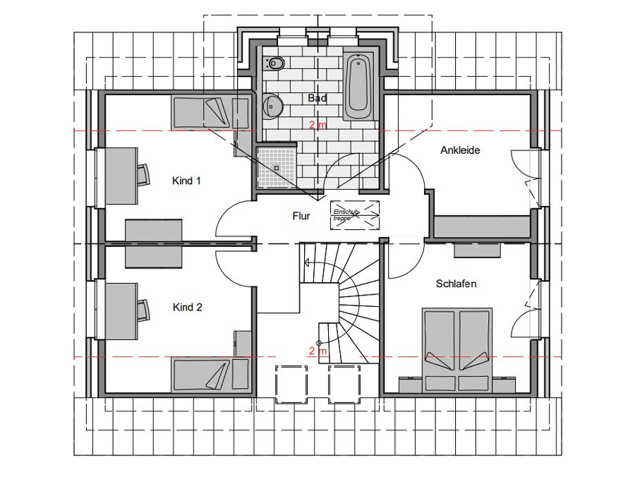 Haustyp Spezial 2 Grundriss Dachgeschoss | Lemke Bau