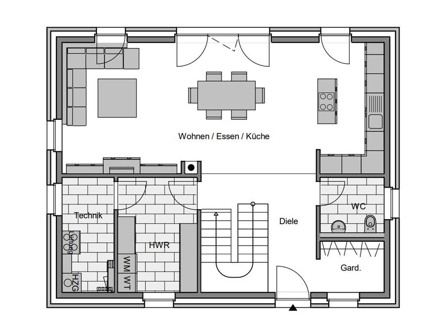Haustyp Kubus Grundriss Erdgeschoss | Lemke Bau