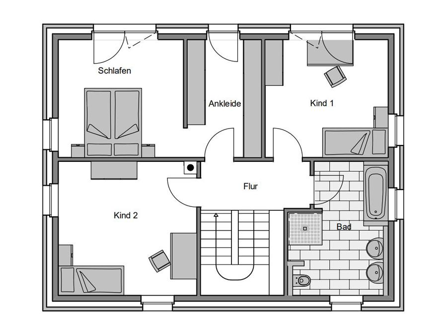 Haustyp Kubus Grundriss Dachgeschoss | Lemke Bau