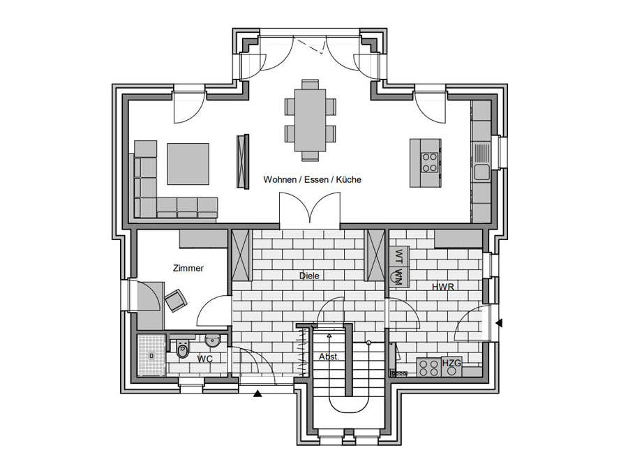 Haustyp Pult Grundriss Erdgeschoss | Lemke Bau