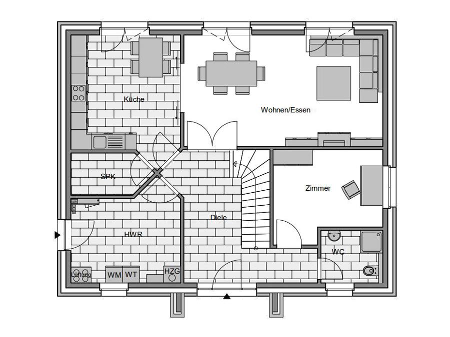 Haustyp Spezial Plus Grundriss Erdgeschoss | Lemke Bau