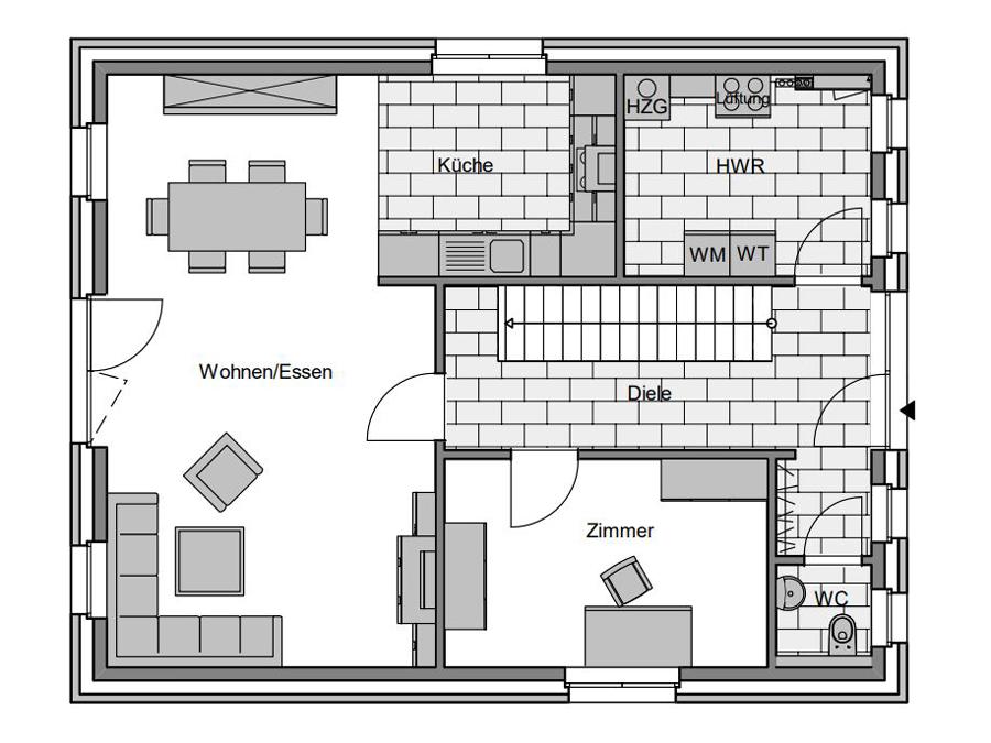 Haustyp Trend 1 Grundriss Erdgeschoss | Lemke Bau
