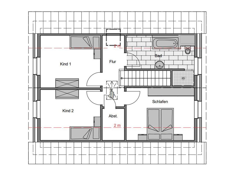 Haustyp Trend 1 Grundriss Dachgeschoss | Lemke Bau