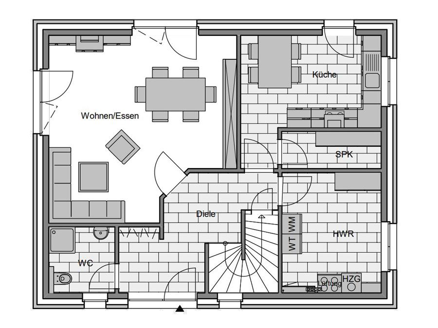 Haustyp Trend 2 Grundriss Erdgeschoss | Lemke Bau