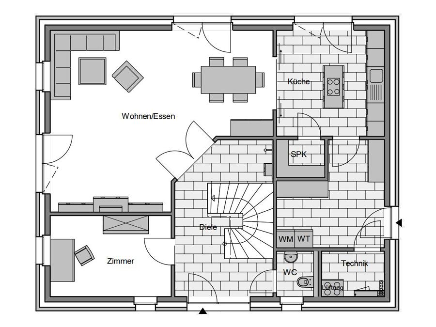 Haustyp Trend 3 Grundriss Erdgeschoss | Lemke Bau