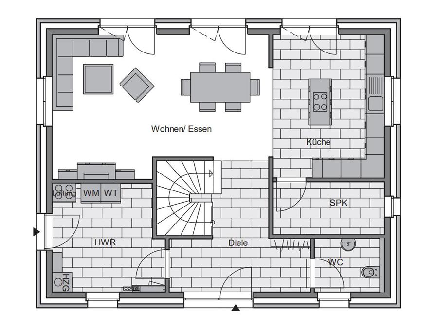 Haustyp Trend Plus 1 Grundriss Erdgeschoss | Lemke Bau