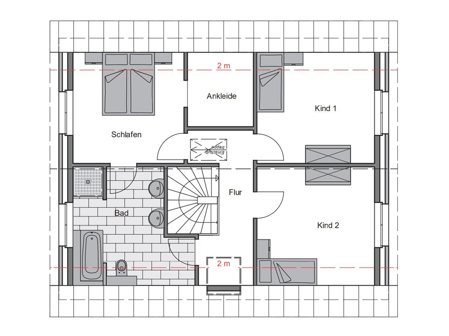 Haustyp Trend Plus 1 Grundriss Dachgeschoss | Lemke Bau