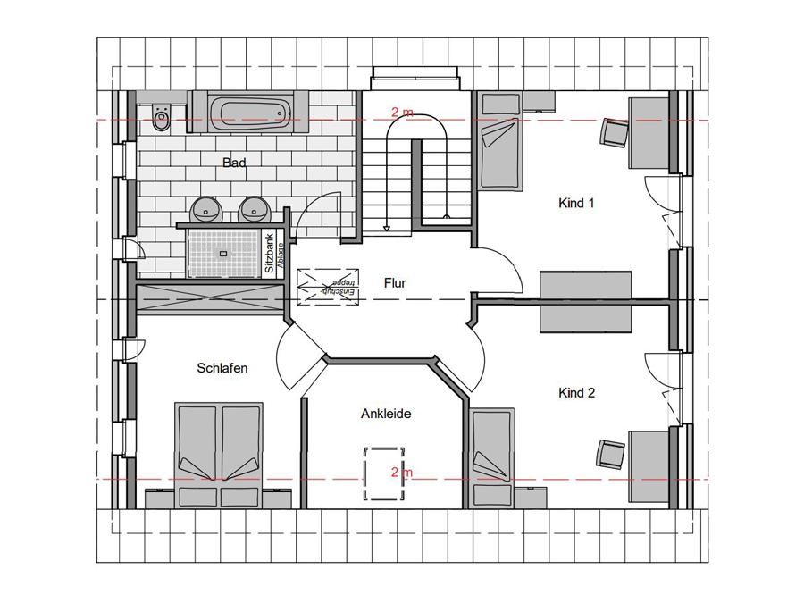 Haustyp Trend Plus 2 Grundriss Dachgeschoss | Lemke Bau