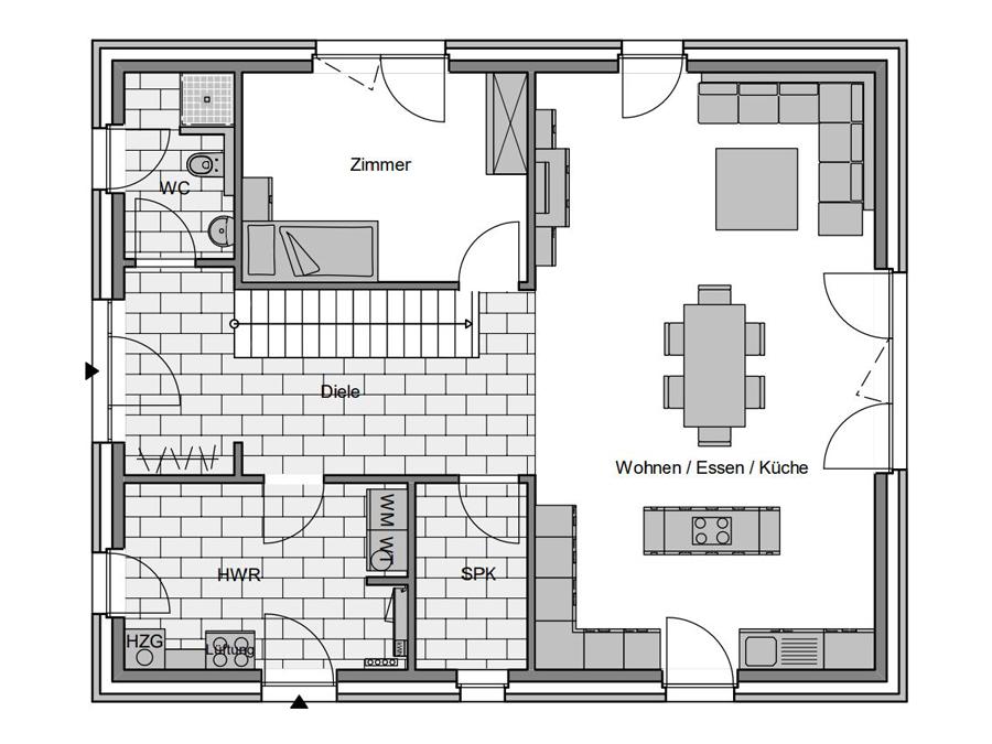 Haustyp Trend Plus 3 Grundriss Erdgeschoss | Lemke Bau