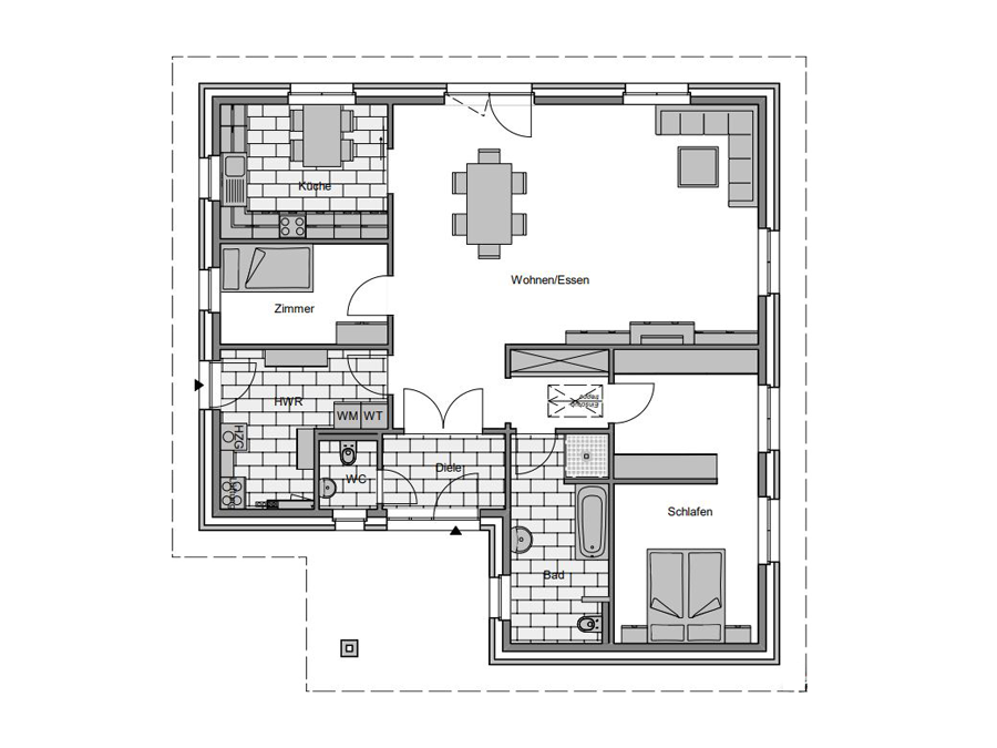 Haustyp Winkel 1 Erdgeschoss | Lemke Bau