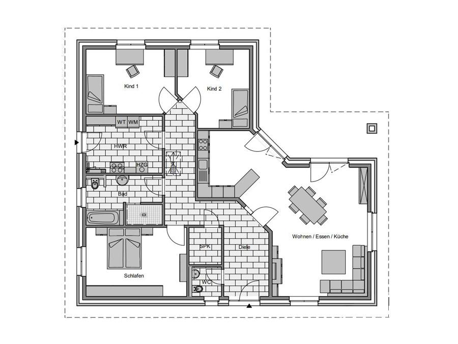 Haustyp Winkel 3 Erdgeschoss | Lemke Bau